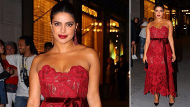 Priyanka Chopra is a Vision in Red as She Arrives to Attend Vanity Fair's Best-Dressed Party (View Pics)