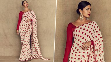 Priyanka Chopra in a White and Red Polkadot Saree Is Perfect Inspiration for What to Wear on Navratri 2019 Day 2