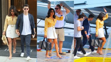 Priyanka Chopra Steps Out On A Yacht Date With Husband Nick Jonas In A Plunging Neckline Blouse And A White Mini Skirt - View Pics!