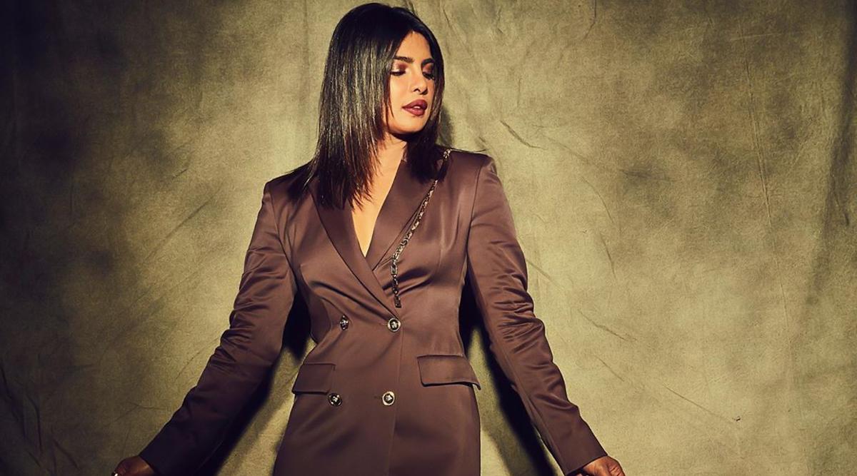 Yo or Hell No? Priyanka Chopra Jonas in Brown Blazer Dress From Versace and Louboutin Pumps