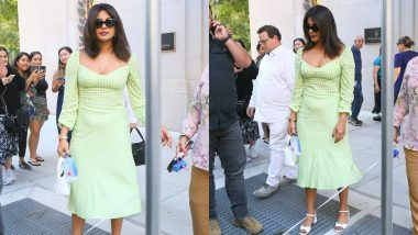 Yo Or Hell No! Priyanka Chopra In A Lime Green Chequered Summer Dress As She Steps Out With Nick Jonas in NYC