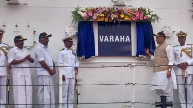 Rajnath Singh Commissions Indian Coast Guard Ship Varaha; Defence Minister Hints at Action Against JeM Launchpads in Balakot
