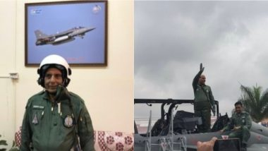 Rajnath Singh Flies On Board LCA Tejas From HAL Airport in Bengaluru, Becomes First Defence Minister to Fly On The Light Combat Aircraft; Watch Video