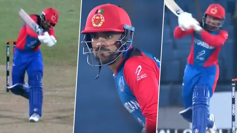 Rashid Khan or Rafael Nadal? Afghanistan Skipper Produces 'Nadalesque' Forehand to Hit a Stunning Six Against Zimbabwe (Watch Video)