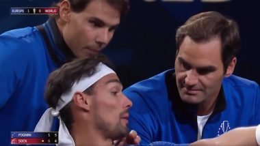 Roger Federer and Rafael Nadal Turn Coach for Fabio Fognini During Laver Cup 2019 Match, Video of 'Coach Fedal' Goes Viral on Twitter