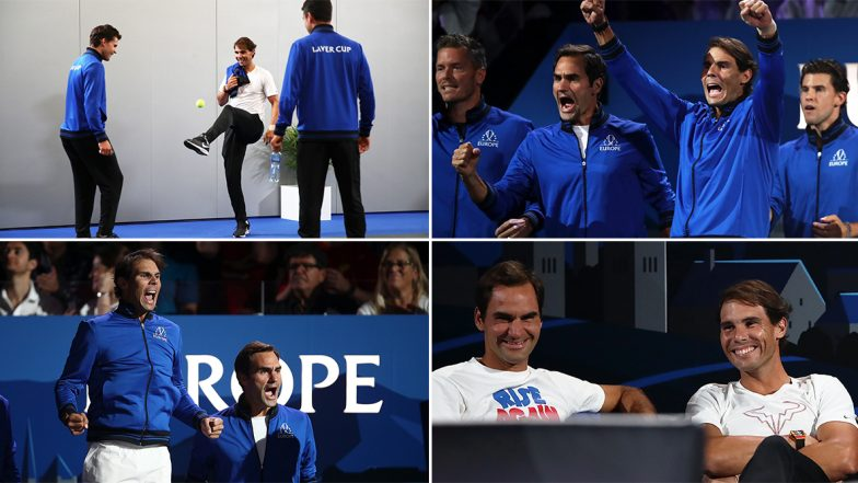 Fedal Moments From Laver Cup 2019: Roger Federer and Rafael Nadal's Bromance During Tennis Tournament in Switzerland Makes Internet Go Crazy! Watch Videos