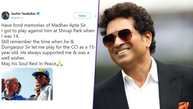Sachin Tendulkar Pays Tribute to Late Madhav Apte With a Heartfelt Post on Twitter, Calls the Former Indian Cricketer His Well-Wisher