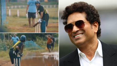 Sachin Tendulkar Plays Cricket on Water-Logged Pitch, Shares Video on Twitter to Express Passion for the Game