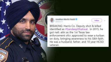 America's First Sikh Police Officer Sandeep Dhaliwal Brutally Shot in Texas, Twitterati Pay Heartfelt Tribute to Sikh Deputy Sheriff