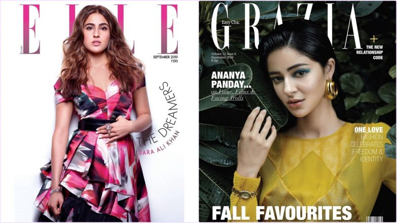 Sara Ali Khan on Elle or Ananya Panday on Grazia, Which Newbie Actress Impressed You More As Cover Girl for September Issue? View Pics