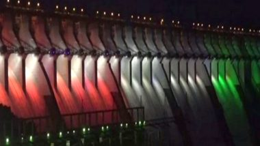 Narendra Modi 69th Birthday: Sardar Sarovar Dam Illuminates With Tricolour Ahead of PM's Gujarat Visit