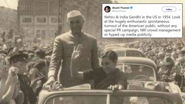 Shashi Tharoor Mocks 'Howdy Modi' By Sharing Nehru and Indira Gandhi's 'US Visit' Pic, Gets Schooled by Twitter For His Goof-Up