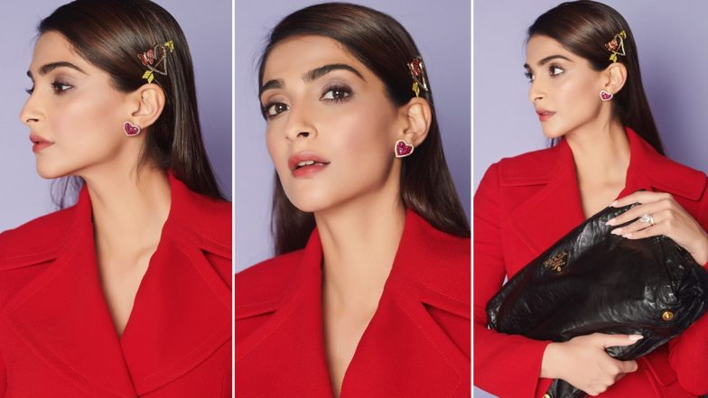 Sonam Kapoor Looks P-H-A-T in Red But It is Her Butterfly-Heart Themed Hair Clip That Steals the Show (View Pics)