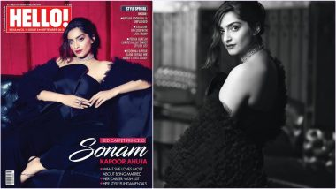 Sonam Kapoor Looks Stunning in Black Jumpsuit With a Ruffled Cape on Hello India Magazine Cover's September Issue
