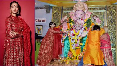 Sonam Kapoor Looks Resplendent in Red and Golden Anarkali as She Offers Prayers at Andheri Cha Raja (View Pics)