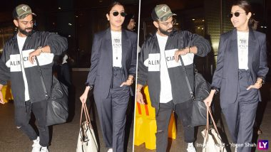 Anushka Sharma and Virat Kohli Twin in Monochromes as They Return from West Indies (View Pics)