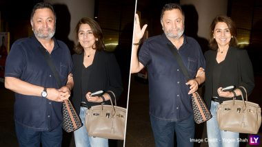 Rishi Kapoor Is Back in India! Veteran Actor Spotted with Wife Neetu Kapoor at Mumbai Airport (View Pics)
