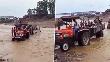 Himachal Pradesh: Tractor Driver Rescues 20 Children Stuck in Strong River Current in Kangra; Watch Video