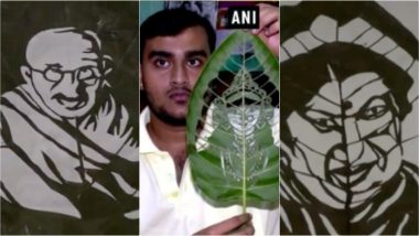 From Mahatma Gandhi to Lata Mangeshkar, the Images Carved on Leaves by This Tripura Artist Are Stunning (Watch Video)