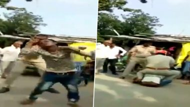 UP Policemen Thrash Man, Drag Him on Road After Spat Over Traffic Rules Violation, Suspended; Video Goes Viral