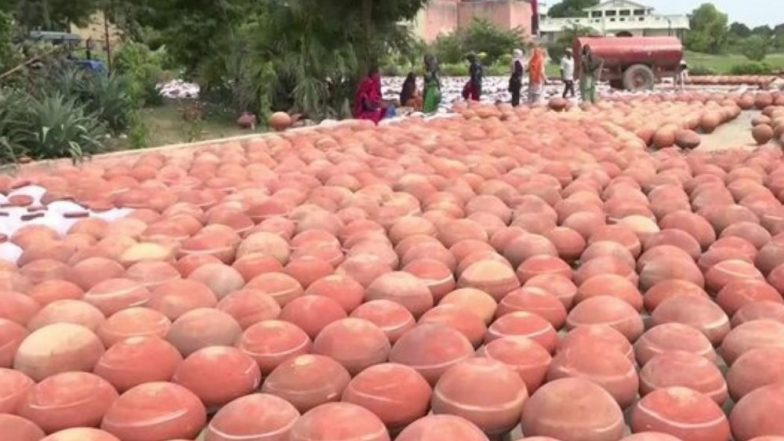 Rohtak: 4,000 Earthen Pots Arranged to Store Drinking Water Ahead of PM Narendra Modi's Visit To Reduce Use of Plastic Containers