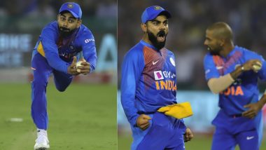 Virat Kohli Takes One-Handed Catch! Fans Praise 'King Kohli' But Insist Indian Captain Is Taking 'Catching Lessons' from Ravindra Jadeja (Watch Video)