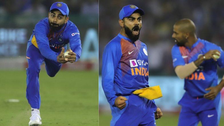 Virat Kohli Takes One-Handed Catch! Fans Praise 'King Kohli' But Insist Indian Captain Is Taking 'Catching Lessons' from Ravindra Jadeja (Watch Video)