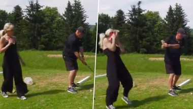 Woman Gets Hit in Face by Man Teeing Off On a Golf Course, Terrifying Video Goes Viral