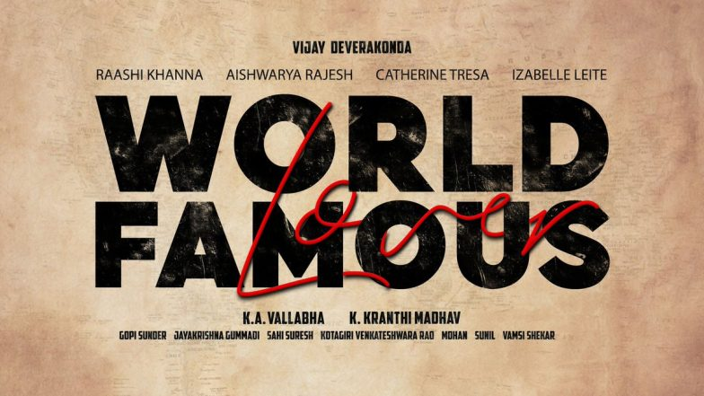 World Famous Lover: Vijay Deverakonda to Star Along With Four Leading Ladies in This Romantic Drama, First Look to Release on September 20