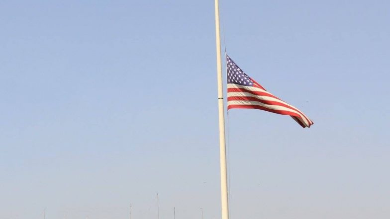 9/11 Attacks of 2001: American Flag Flies at Half-Mast at US Embassy in New Delhi in Memory of Victims And Heroes of The Terror Attack