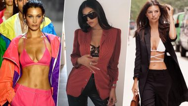 Emily Ratajkowski, Kylie Jenner and Bella Hadid Are All Wearing This! Bras As Tops With Blazers Is the Newest Hollywood Obsession
