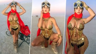 Demi Rose Wears Boob-Flaunting Metallic Bikini for 2019 Burning Man Festival! View Pics of Instagram Star Turning Up the Heat at Nevada Desert