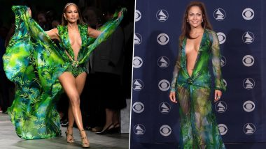 Jennifer Lopez Sets the Runway on Fire at Versace's Milan Fashion Week Show in a New Version of Her Iconic 'Jungle Dress' (View Pics and Videos)