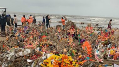 Irresponsible Ganpati Visarjan Leads to Pollution of Beaches and Rivers, Users Share Pics and Videos of Waste