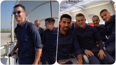 Cristiano Ronaldo & Team Take off to Spain for Atletico Madrid vs Juventus, UEFA Champions League 2019-20 (See Pics and Video)