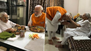 Narendra Modi Birthday: PM Meets His Mother Heeraben Modi on 69th Birthday, Takes Her Blessings; View Pics