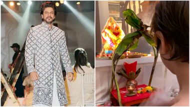 Ganesh Visarjan 2019: Shah Rukh Khan Shares Pic of of Son Abram Offering Prayers to Ganpati