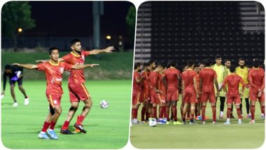 Sunil Chhetri, Sandesh Jhingan & Others Sweat it Out Ahead of Qatar vs India, FIFA World Cup 2022 Qualifier (See Pics & Video)