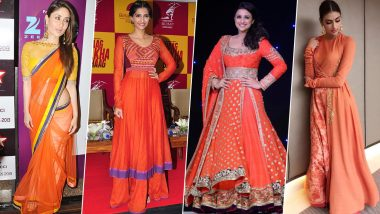 Navratri 2019 Day 1 Colour Orange: Let Sonam Kapoor, Kareena Kapoor Khan and Others Teach you How to Pull of Outfits in this Shade (View Pics)