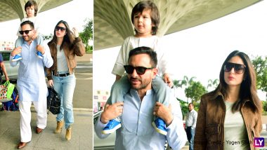 Taimur Steals the Show Even As Parents Kareena Kapoor Khan-Saif Ali Khan Make a Stylish Appearance at the Mumbai Airport (View Pics)