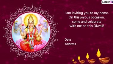 Diwali 2019 Invitation Cards Format: WhatsApp Messages and Images to Invite Friends and Family for Lakshmi Puja and Diwali Party