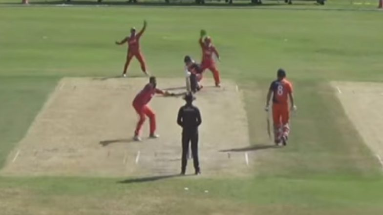 Khawar Ali Picks Up 10th Hat-Trick in T20Is During Oman vs Netherlands Match in Oman Pentangular Series (Watch Video)