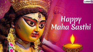 Subho Sasthi 2019 Images & Durga Puja HD Wallpapers in Bengali for Free Download Online: Wish Subho Maha Sasthi With Beautiful WhatsApp Stickers and GIF Greetings