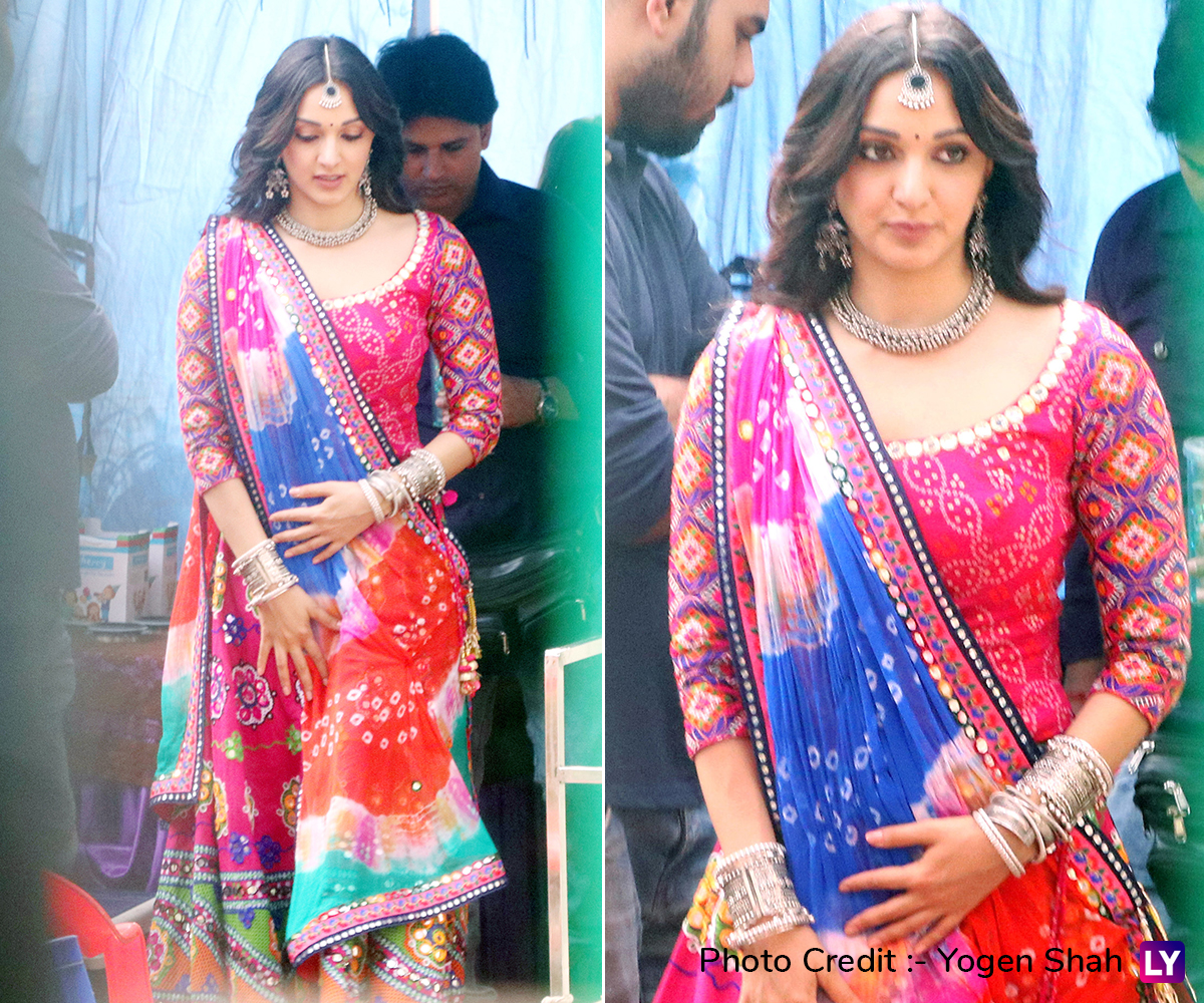 Kiara Advani on the sets of Bhool Bulaiyaa 2.