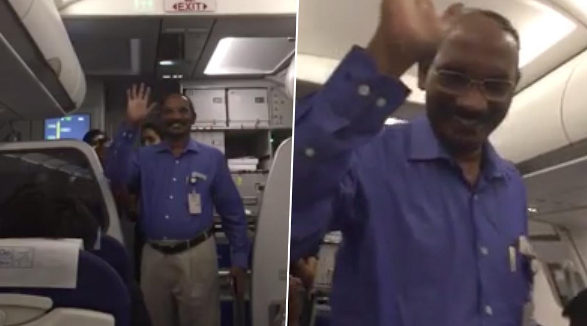K Sivan, ISRO Chief, Receives a Hero's Welcome on Board IndiGo Flight, Passengers, Crew Greet Him With Applause; Watch Video