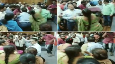 Madhya Pradesh: Woman Thrashes Government Official With Slipper Alleging Wrong Allocation of Houses Under PMAY; Watch Video
