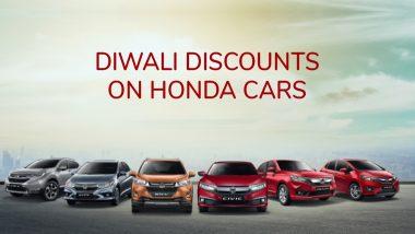 2019 Diwali Offers on Honda Cars: Get Up To 5 Lakh Discounts on Honda City, Amaze, WR-V & CR-V