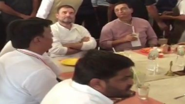 Gujarat: Rahul Gandhi Seen at Restaurant in Ahmedabad With Hardik Patel; See Pic