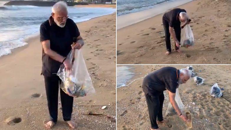 PM Narendra Modi Goes Plogging at Mamallapuram Beach, Shares Video
