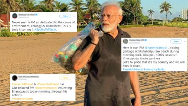 Narendra Modi Plogging at Mahabalipuram Beach Goes Viral! Netizens Urge #SayNoToPlastic While Lauding PM